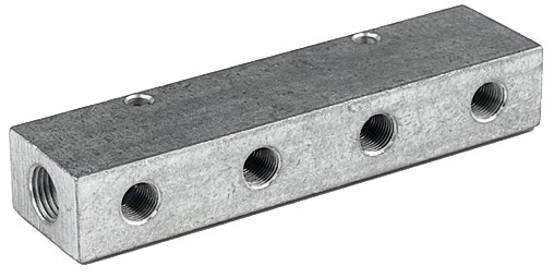Distributor strip, Outlets one side, Input 2x3/8, Output 3x1/4 - 6x1/4
