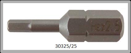 """10 Stück Vessel Industriebit Hexagonal-Schrauben INSERT BIT 1/4"""" HEX E6.3 HEX 2.5 X 25 (mm)"""