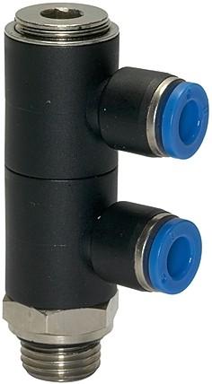 L-Mehrfachverteiler »Blaue Serie«, 2-fach drehbar, G 3/8 a., Ø 10 mm
