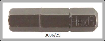 """10 Stück Vessel Industriebit Hexagonal-Schrauben INSERT BIT 1/4"""" HEX E6.3 HEX 6.0 X 25 (mm)"""